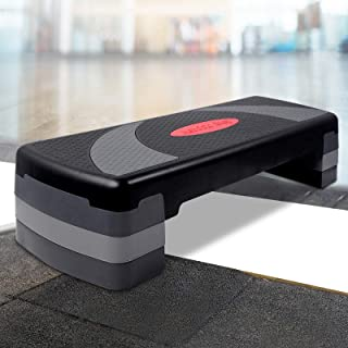 Everfit Aerobic Step Platform 3-Level Step Up Exercise 250KG Capacity Aerobic Stepper Bench 3 Height Ajustable Cardio Home...