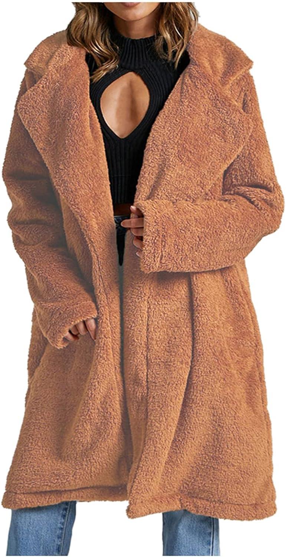 Women's Warm Winter Lapel Fluffy Faux Fur Fleece Jacket Long Sle