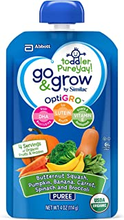 Go & Grow by Similac Fruit and Veggie Pouches with OptiGRO, Butternut Squash, Pumpkin, Banana, Carrot, Spinach, Broccoli Puree, For Toddlers, Organic Baby Food, 4 ounces, Pack of 12
