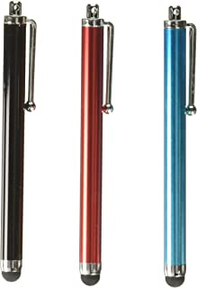 BlastCase 3 pcs Aqua Blue/Black/Red Capacitive Stylus/styli Touch Screen Cellphone Tablet Pen for iPhone 4 4s 3 3Gs iPod Touch iPad 2 Motorola Xoom, Samsung Galaxy, BlackBerry Playbook AMM0101US, Barnes and Noble Nook Color, Droid Bionic