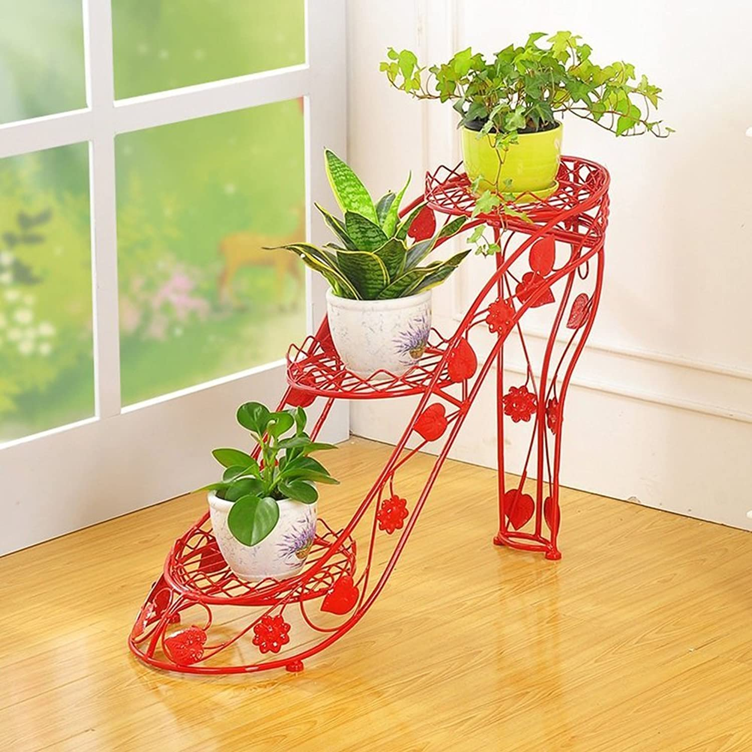 Chuangshengnet Outdoor Indoor Display Plant Stand 3 Layers of Black Metal Garden Patio Plants pots Stand Display 3 pots (color   Three Layers)