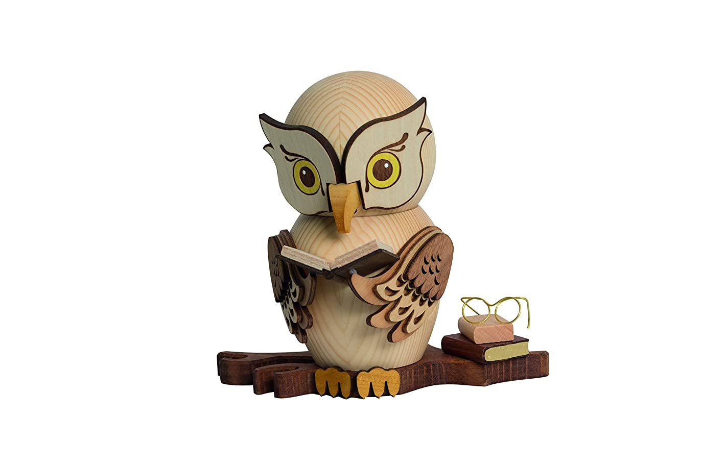 悪意のある背の高い限られたドイツ語Incense Smoker Owl with Books?–?15?cm / 5.9インチ?–?Drechslerei Kuhnert