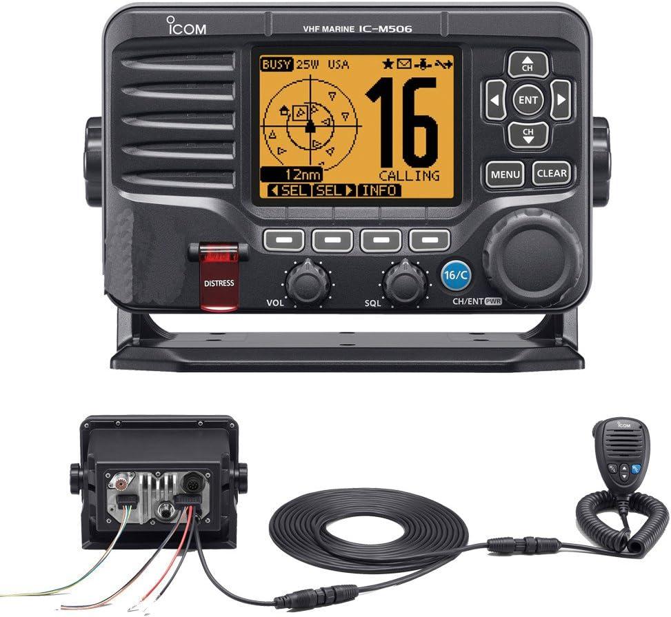 Icom M506 VHF Fixed Mount w/Rear Mic, AIS & NMEA 0183/2000174; - Black