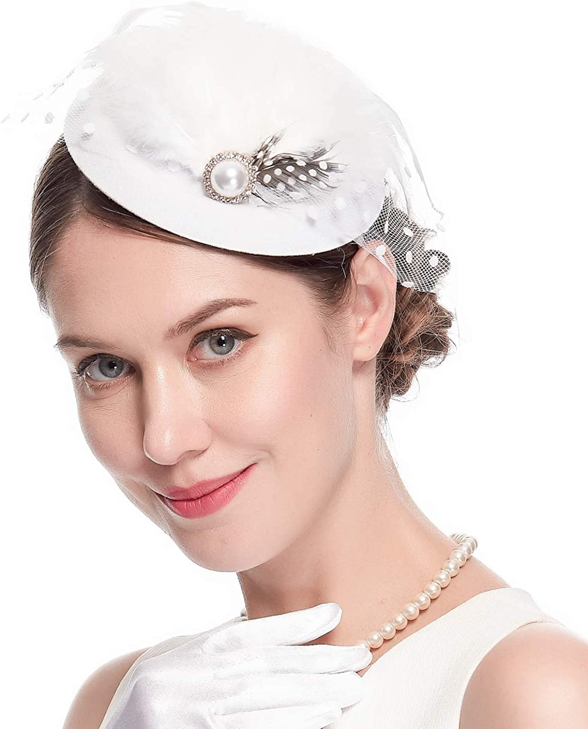 Pillbox Hats 20s 50s Vintage Fascinators for Women with Feather