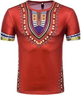 Men's Casual African Print O Neck Pullover Short Sleeved T-Shirt Blouse