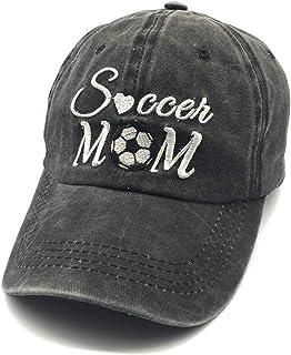 Waldeal Embroidered Unisex Soccer Mom Adjustable Dad Hats Vintage Washed Cotton Denim Cap Mama Gift