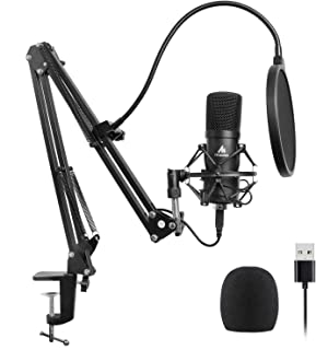 USB Microphone Kit 96KHZ/24BIT Plug & Play MAONO AU-A04 USB Computer Cardioid Mic Podcast Condenser Microphone with Professional Sound Chipset for PC Karaoke, YouTube, Gaming Recording