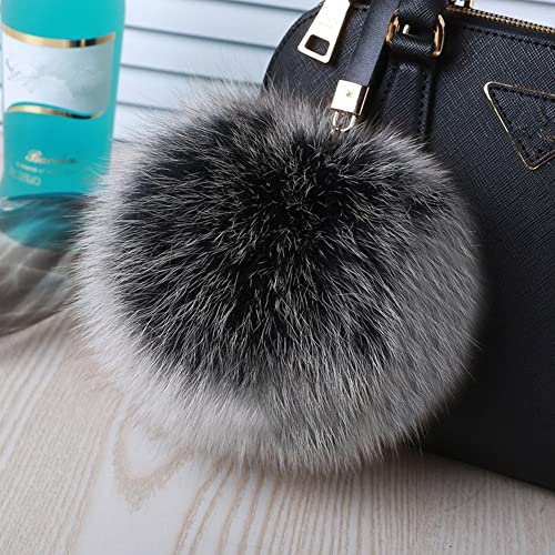 d7d4affdf506 Roniky Large Genuine Fox Fur Pom Pom Keychain Bag Charm Gold Ring Fluffy Fur  Ball