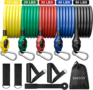 DMYCO Resistance Bands Set 5-Piece Exercise Bands Stackable Up to 150 lbs. Fitness Workout Bands Portable Home Outdoor Gym Accessories Perfect Muscle Builder for Leg, Glutes, Belly, Chest, Back, Arms