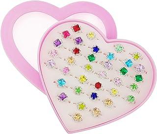 36 قطعة من خواتم أحجار الراين القابلة للتعديل للفتيات الصغيرات في صندوق، مجموعة خواتم مجوهرات للأطفال مع حقيبة عرض على شكل...