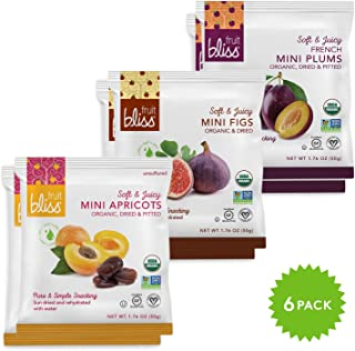 Fruit Bliss Variety Pack Organic Fruit Snacks – Two Each of Mini Turkish Apricots & Mini Figs & Mini Plums – Juicy Dried F...