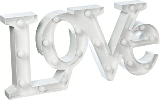 Torre & Tagus Marquee LED Lighted Metal Sign - Love, White
