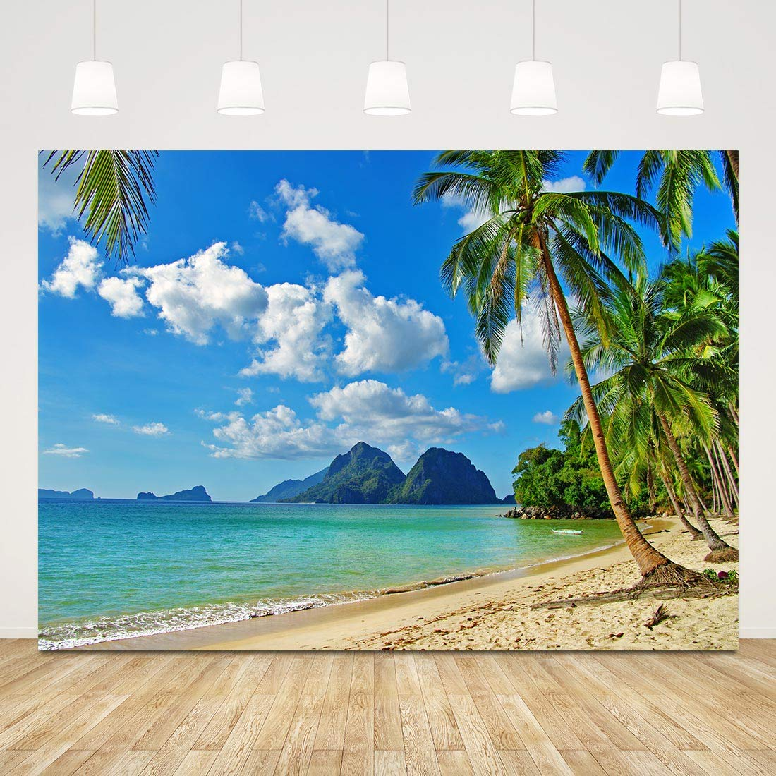Haoyiyi 10x6.5ft Tropical Beach Background Green Palm Leaves Island Sand Nautical Pirate Jewelry Backdrop Photography Photo Birthday Party Events Travel Summer Holiday Banner Decoration