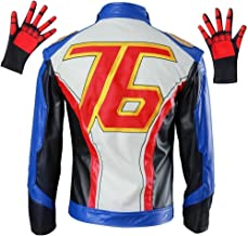 OURCOSPLAY Embroidered PU Leather Soldier 76 Cosplay Jacket and Gloves