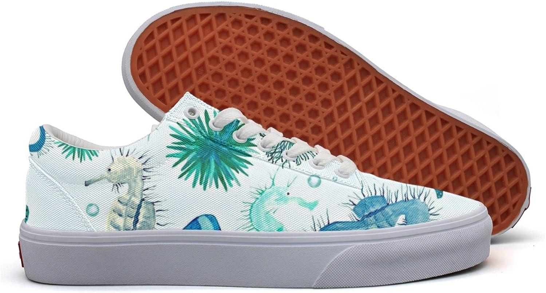Seahorse Sea Watercolor Beach Sheel Women's Casual shoes Sneakers Canvas Athletic Low Top Comfortable