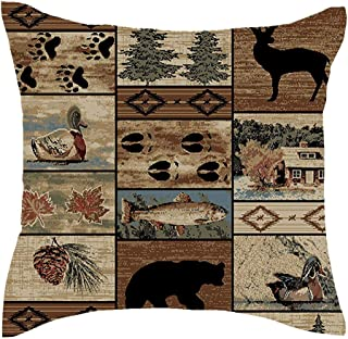 Jimrou Throw Pillow Cover 18x18inches Festival Welcome to The Cabin Elk Bear Paw Prints Hunting Retro Wildlife Animals Cotton Linen Decorative Home Sofa Chair Square Throw Pillow Case Cushion Cover