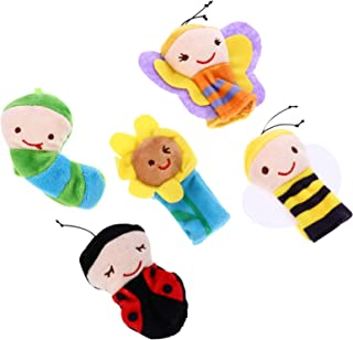 NUOBESTY 5pcs Plush Animal Finger Puppet Mini Plush Figures Toy Storytelling Dolls Props Figure Finger for Role-Playing Te...
