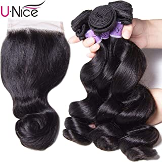UNice Hair Kysiss Series Brazilian Loose Wave Bundles with Lace Closure 100% Unprocessed Virgin Human Hair Weave Extensions Natural Color (16 18 20+14 Closure)