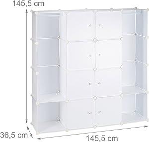Relaxdays 10021969_49 Armadio Guardaroba Componibile, 12 Scomparti, Sistema a Incastro, Plastica, 145,5x145,5 cm, Bianco