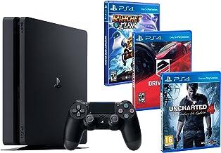 PS4 Slim 1TB PACK FAMILIAR de 3 Juegos: Ratchet & Clank, Uncharted 4, Driveclub