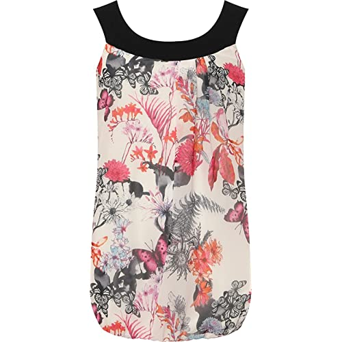 03713885daa2a Womens Plus Size Chiffon Floral Sleeveless Bubble Hem Pleated Vest Top 14-28