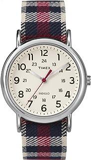 Timex Weekender Plaid Blue Plaid Fabric Strap Cream Dial Casual Watch TW2P89600