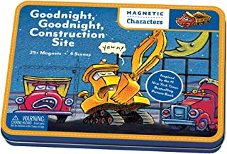 Mudpuppy Goodnight, Goodnight Construction Site Magnetic Character Set– Ages 3+ - Magnetic Play Set with 4 Scenes, 25+ Magnets – Great for Travel, Quiet Time – Magnets Adhere to Tin Package