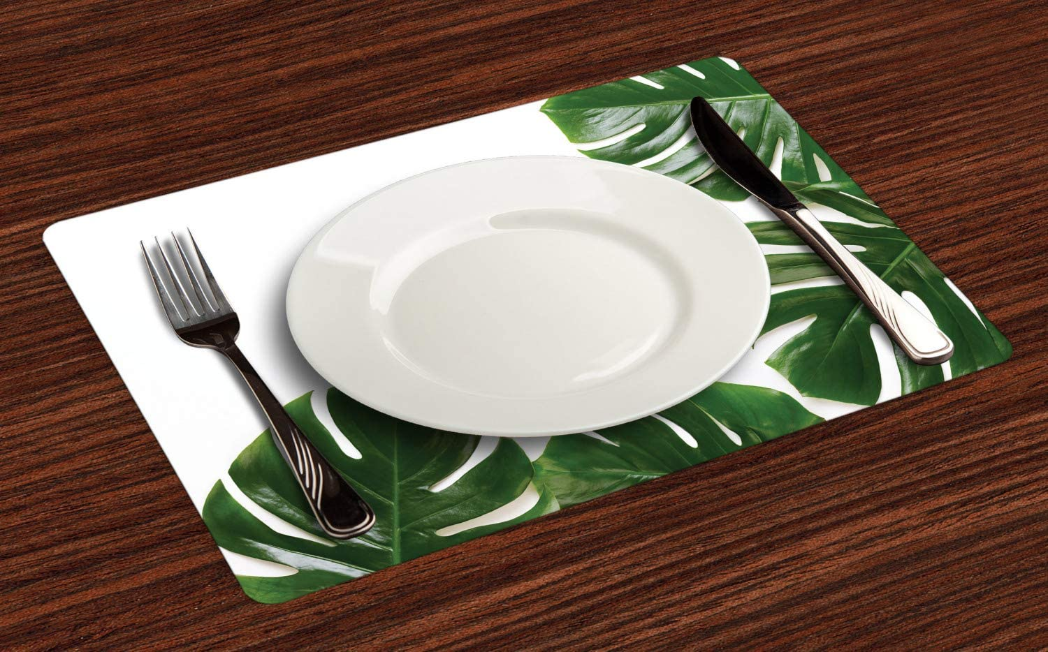 Ambesonne Philodendron Place Mats Set of 4, Monstera Leaf Swiss Cheese Plant Rustic Framed Photo, Washable Fabric Placemats for Dining Table, Standard Size, Emerald Pale Sage Green Olive Green