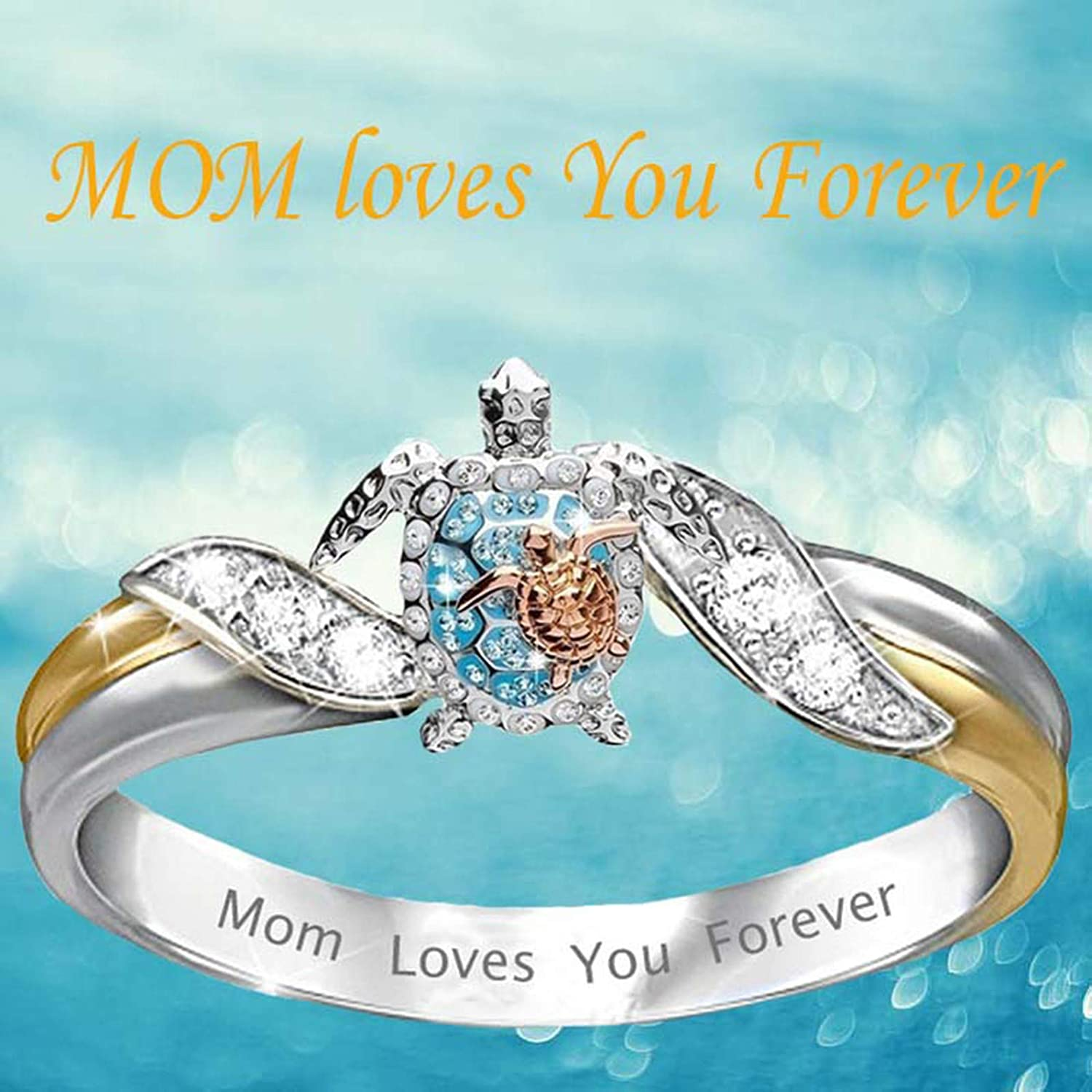 Turtle Statement Ring Mom Loves You Forever, Diamond Microinlaid Zircon Ring Jewelry, Turtle Ring Cat Ring Elephant Ring Animal Ring for Mother's Day Size 5-10