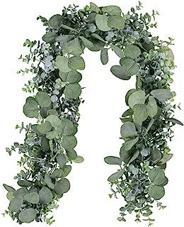 Winlyn 6' Long Faux Eucalyptus Leaves Greenery Garland Artificial Silver Dollar Eucalyptus Garland in Grey Green Wedding A...