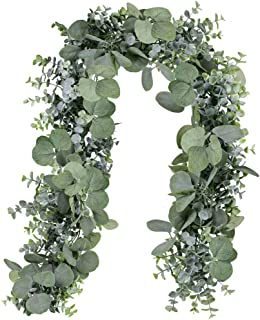 SUPLA 5.9' Long Faux Eucalyptus Leaves Greenery Garland Artificial Silver Dollar Eucalyptus Garland in Grey Green Wedding Arch Swag Backdrop Garland Doorways Table Runner Garland Indoor Outdoor
