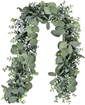 Winlyn 6' Long Faux Eucalyptus Leaves Greenery Garland Artificial Silver Dollar Eucalyptus Garland in Grey Green Wedding Arch Swag Backdrop Garland Doorways Table Runner Garland Indoor Outdoor