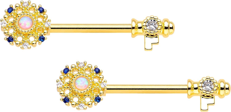 Body Candy 14G Womens Nipple Rings Piercing PVD Steel 2Pc Synthetic Opal Ornate Key Nipple Ring Set 9/16
