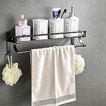 Ruimte aluminium badkamer rek, zwart handdoekenrek, punch, gratis badkamer muur opknoping opbergrek, met paal, 50 cm