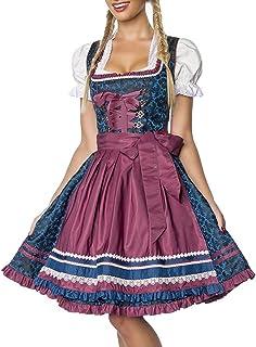 Dirndline Luxus Designer Dirndl mit Schürze Kleid Dirndkleid Oktoberfest Tracht Trachtenkleid Spitze Brokat Paspelierung Rüschen Borte Blau Dunkelrot XS - 3XL