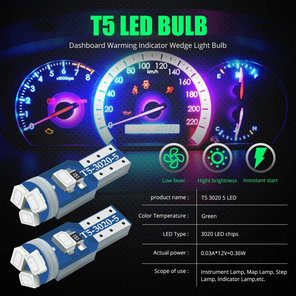 YEERON 30pcs Green T5 17 18 27 37 58 70 73 74 79 85 86 2721 LED Bulbs 5x3030 Chips LED Lamp for Map,Dashboard,Instrument panel,Dome,Gauge lights.