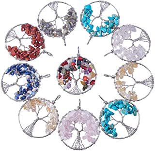 Pandahall 10pcs Assorted Colors Tree of Life Pendant Gemstone Chakra Crystal Stone Pendant for Necklace Earring Jewelry Making