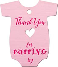 Summer-Ray 50pcs Pink Baby Onesie Baby Shower Favor Thank You Tags Thank You for Popping by