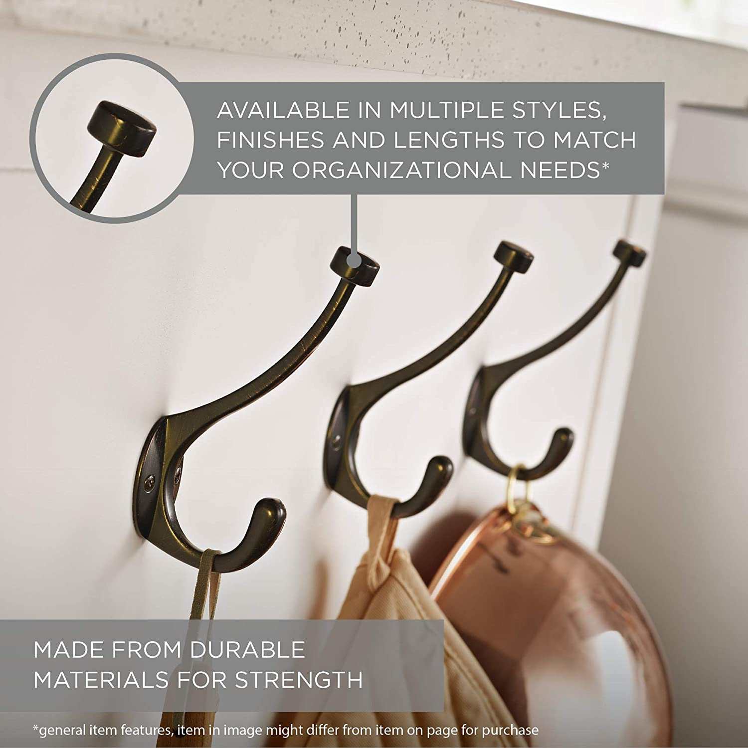 Liberty Hardware 137246 Ruavista Coat and Hat Hook 1-Pack Bronze with Copper Highlights