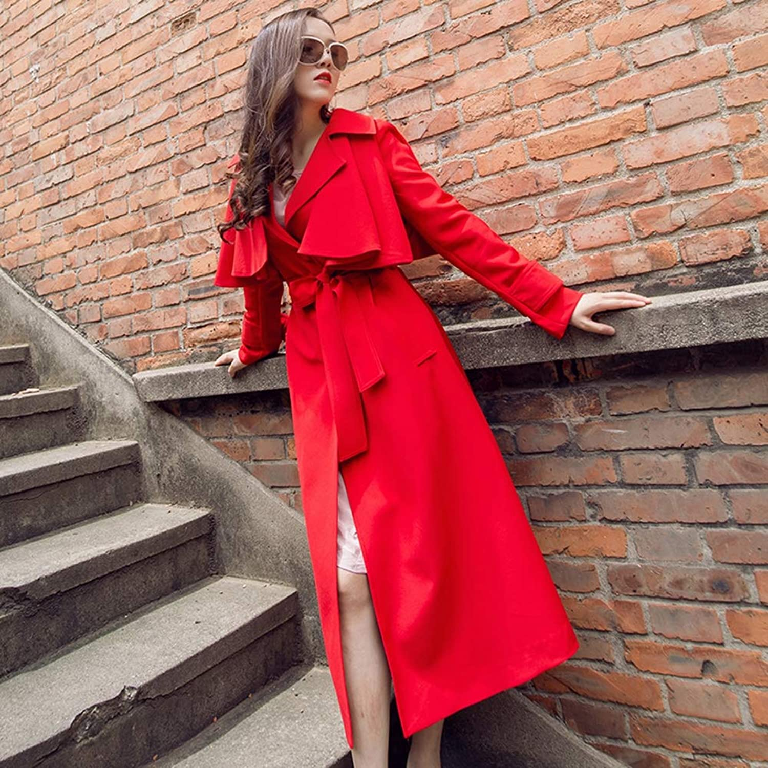 Women's Winter Autumn Spring Cashmere Wool Blend Pea Coat Windbreaker Long Fur Collar Europe and The United States Slim Thick Woolen Red,S