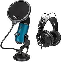 Blue Microphones Yeti Teal USB Microphone Bundle with Studio Headphones and Knox Pop Filter