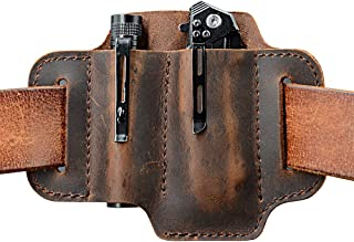 EDC Leather Belt Loop, EDC Leather Organizer Pouch, EDC Essential Carrier, Full Grain Leather. Chestnut.