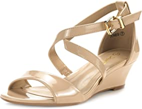 DREAM PAIRS Women's Ankle Strap Low Wedge Sandals