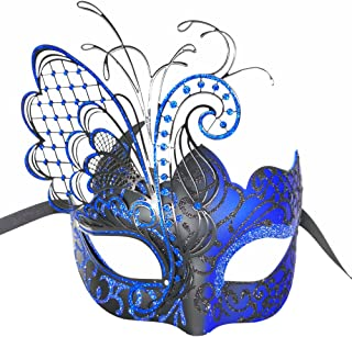 CCUFO Masquerade Venetian Luxury Face Mask for Women Metal Sparkling Butterfly | Party, Ballroom, Fancy Prom, Mardi Gras, Wedding, Wall Decoration (Black/Blue Butterfly)