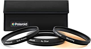 Polaroid Optics 58mm 3-Piece Special Effect Filter Kit Includes Soft Focus, 4 point Star Effect, Warming W/Nylon Carry Case – Compatible w/All Popular Camera Lens Models
