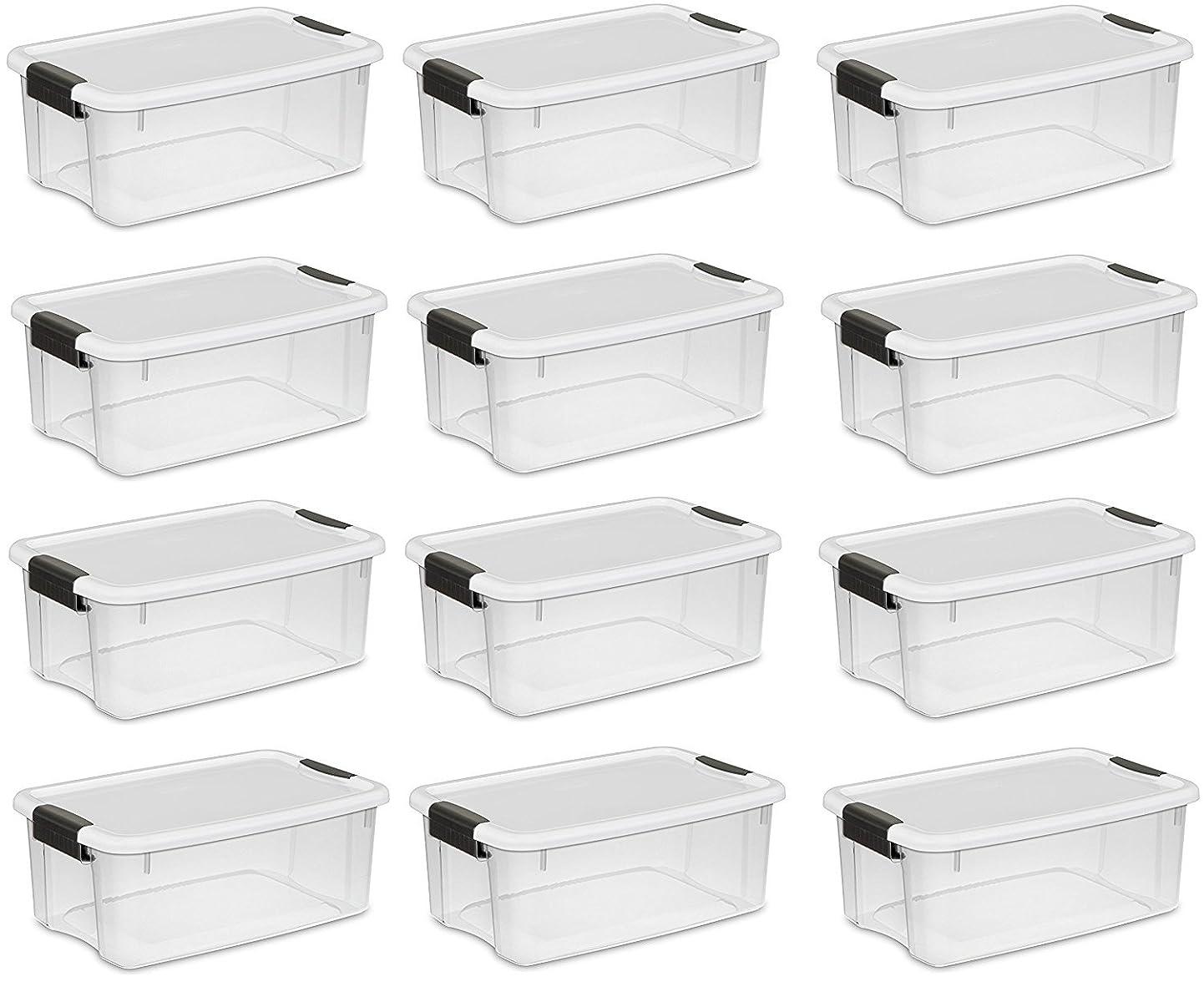 概して増幅器派生するSterilite 30?Quart / 28リットルUltraラッチボックス、クリアwith aホワイト蓋、ブラックラッチ、12-boxes 30 Quart. 12-Boxes