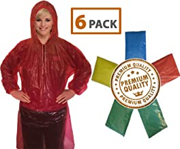 Rain Poncho for Adults (6 Pack) | Drawstring Hood and Elastic Sleeve Ends | 50% Thicker..