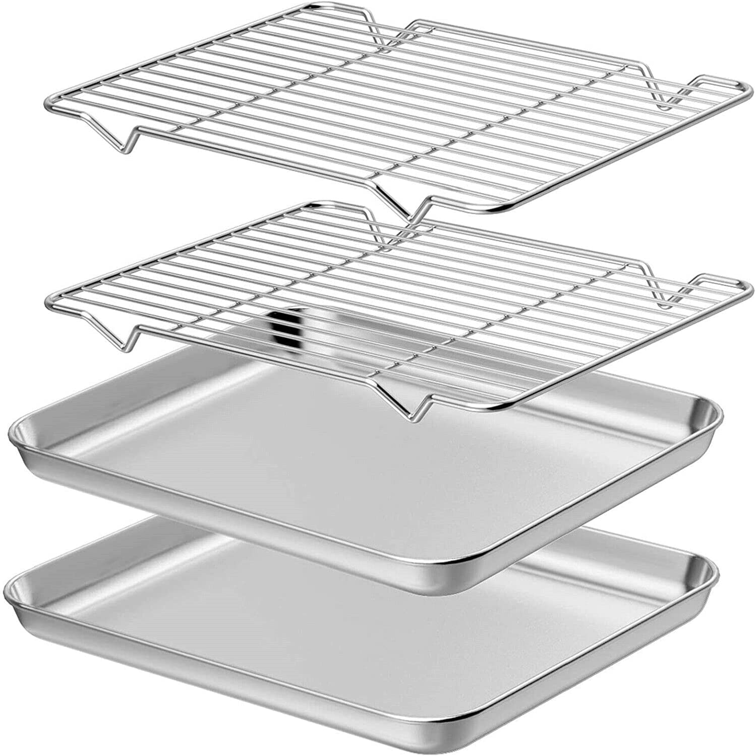 1 Set of Baking Sheet Rack Cookie Pan Long Beach Mall Shee Stainless Price reduction 2 Steel