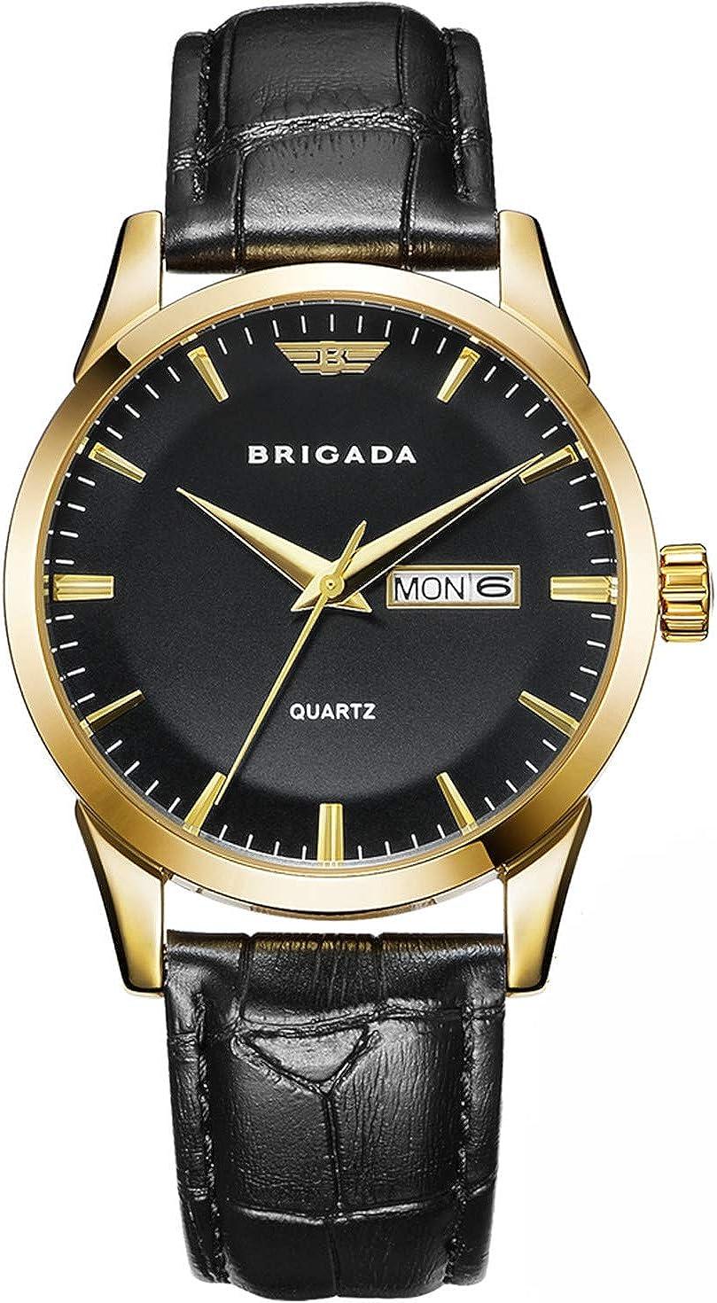 BRIGADA Men's Watch Classic Gold Black Quartz Wrist Watch Swiss Brand Business...