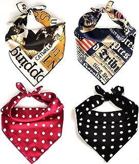 Dog Bandanas, 4 Set KOOLMOX Square Dog Scarves for Small Medium Large Dogs Cats Puppies, Adjustable Dog Handkerchiefs Kerc...